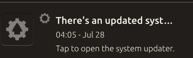 system update push notification