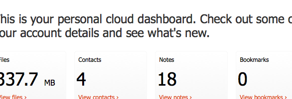 U1 Personal cloud dashboard
